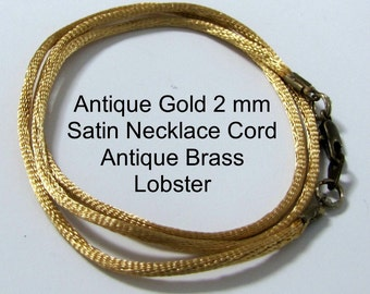 25 to 50 inch Gold Satin Necklace Cord, EXtra long Necklace Cord, 2 mm Gold Pendant Cord, Satin Necklace Cord, Antique Brass, Gold Lobster