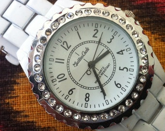 Montres Carlo Watch, Size 40 x 45 mm, Runs and Keeps Time, Quartz Battery Installed, Silvery Bezel, Crystals on Bezel, Vintage Womens Watch