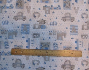 White with Blue/Gray Trains Boy Flannel Fabric by the Yard