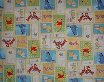 Blocked Pooh and Friends/Tigger/Eeyore/Piglet Fabric by the Yard