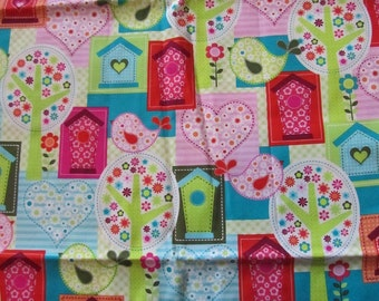 Multicolor Birds/Bird Houses/Hearts Cotton Fabric by the Yard