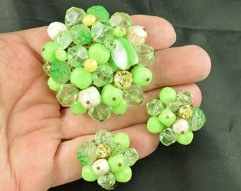 Huge Lime Green Brooch Earrings Set W. Germany Unusual Rhinestone Art Glass Plastic Chunky Big Cluster ~ Lot 446