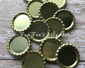 "Flattened bottlecaps GOLD metallic-DIY hairbow center - * 25 mm 1"" Flattened bottle cap- * additional quantities available"