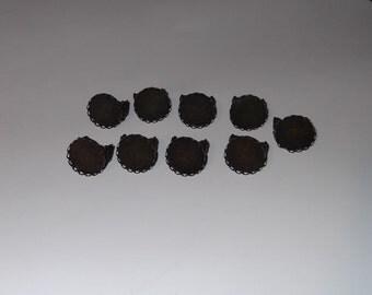 Antique style Filigree Bronze Metal Ox 20 mm Ring Blanks Bezel Ring Lot of 9