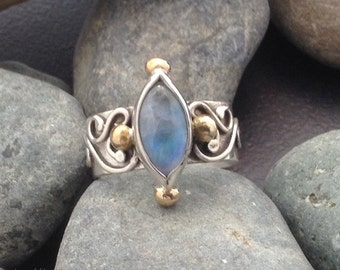 Blue rainbow moonstone and sterling silver ring, delicate flowing raised flowing tendril design, mixed metals, 4 brass balls, fits size 8.5