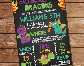 Dragon Party Invitation - Cute Dragon Invitation - Instantly Downloadable and Editable File - Personalize at home with Adobe Reader