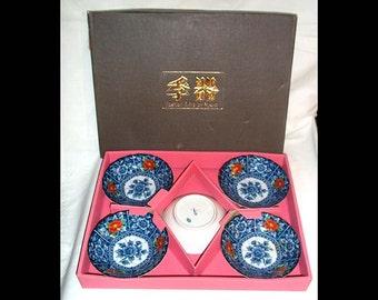 Set of Five Vintage Kyuyo Japanese Porcelain Individual Bowls with Cobalt, Orange and Gold Oriental Design and Oriental Backstamp