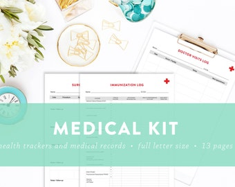 EDITABLE - Medical Kit - Health Logs and Medical Records - Letter Size - INSTANT DOWNLOAD