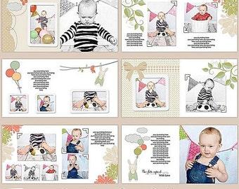 "SALE 10x10 Whcc Photobook- Album Photoshop Templates ""Birthday Red Balloon"" , INSTANT DOWNLOAD"