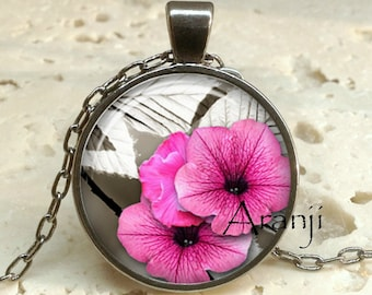 Pink petunia art pendant, pink petunia necklace, pink flower pendant, pink flower necklace, pink petunia pendant, Pendant #PL149GM