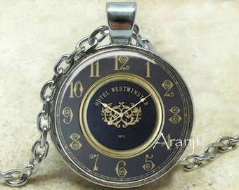 Vintage clock pendant, clock necklace, clock jewelry, clock art necklace, clock pendant, vintage clock, Pendant#HG129P