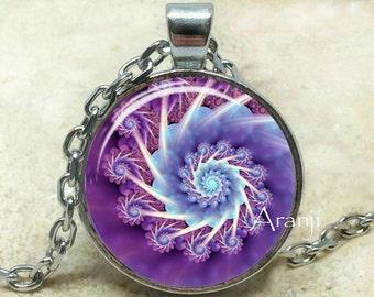 Purple fractal pendant, fractal art necklace, fractal jewelry, purple spiral necklace, purple spiral, Pendant #PA182P