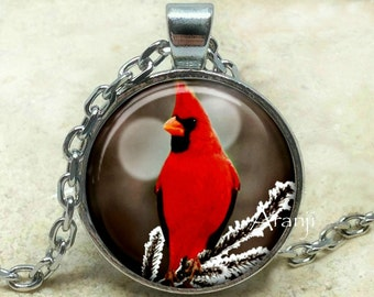 Red cardinal art pendant, red cardinal necklace, red cardinal jewelry, cardinal necklace, red cardinal bird, Pendant #AN156P