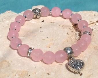 Pink jade bracelet, light pink bracelet, pink bracelet, pink stone bracelet