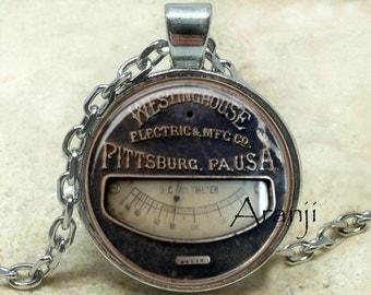 Vintage meter pendant, meter necklace, meter jewelry, vintage meter necklace, steampunk pendant, steampunk, Pendant#HG215P