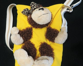 Monkey Escapee.. Lined Tote Bag / Purse / Book Bag, Handmade from Recycled Upcycled Stuffed Animals and Yellow Denim Jeans