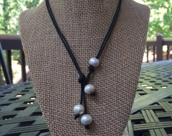 SALE Pearl and Leather Lariat Necklace, Wear Long or Short, Beautiful Freshwater Pearls on a Genuine Leather Cording