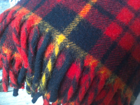 Vintage Plaid Wool Blanket, Horner Woolen Company, Eaton Rapids, Michigan, Thick Wool, Bedding, Linens, Throw, Couch Blanket