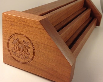 Natural Cherry & Oak  COAST GUARD Challenge Coin Display Holder Holds 15-21 Coins
