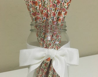 25 Flower Print Paper Straws / Cake Pop Sticks