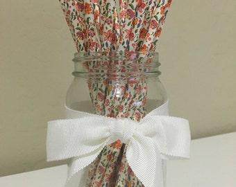 25 Flower Print Paper Straws / Cake Pop Sticks