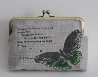 Screen-printed Butterfly Handbag