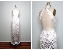 VTG Glam White & Silver Sequined Gown // Cut Outs Open Back White Sequin Mirror Chrome Ombré Beaded Fully Embellished Dress