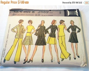 "SALE 1970s Boho Shirt Top, Skirt and Wide Leg Pants sewing pattern McCalls 3489 Size 18 Bust 40"" UNCUT FF"