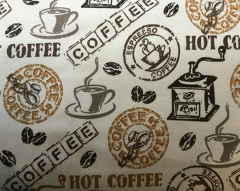 FLANNEL - Creme Coffee Fabric - Caffiene Fabric- Cup of Joe Fabric - I Love Coffee Fabric - Creme Coffee Flannel