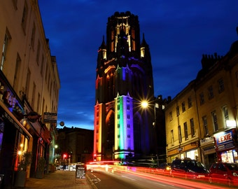 Rainbow Lights, Wills Memorial Building, Park Street, Bristol, City, England, Photographer, Alison Zak-Collins,