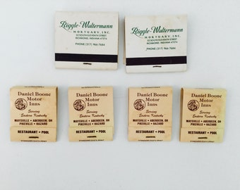 6 Vintage Mortuary & Inn Used Matchbooks