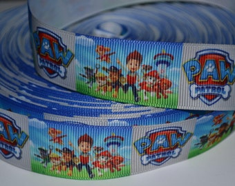 """Like Puppy Paws on Patrol Blue Puppy Inspired 1"""" Grosgrain Ribbon for Hair Bows, Kids Crafts, Scrapbook Deco, Cards Making, Gift Wrapping"""