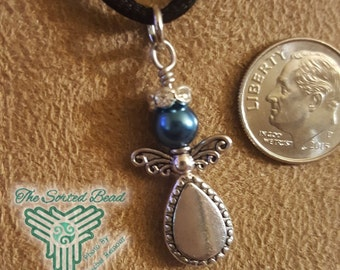 Angel Pendant - Silver and Blue Pearl with Rhinestone Halo Free Domestic Shipping