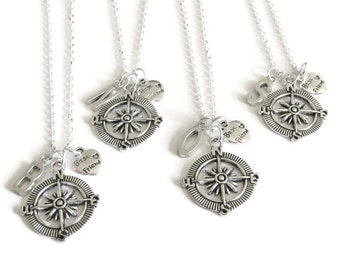 4 Best Friends Compass Initial Necklaces, 4 BFF Necklaces, 4 Best Friends Necklaces, 4 Best Friend Jewelry