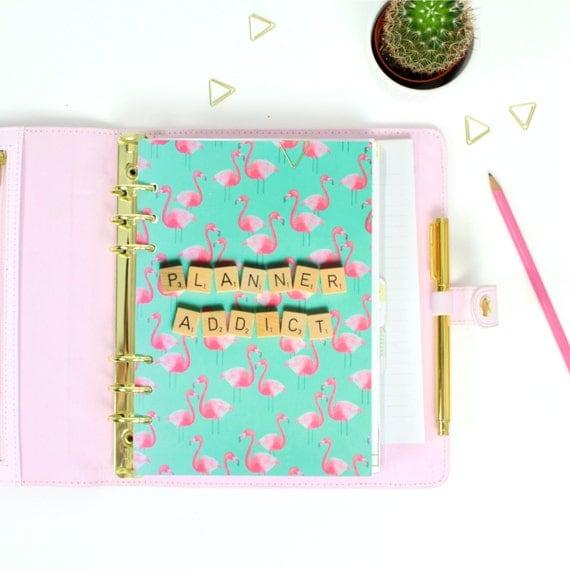 Scrabble Inspired Planner Addict A5 Dashboard, Planner Addict Print, A5 Planner Dashboard, Flamingo Planner Dashboard