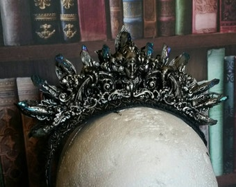 Art Nouveau Inspired Crystal Crown Blue Grey Titanium