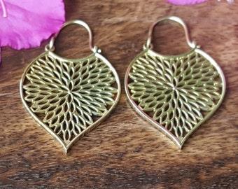 Tribal Forest Earrings Fractal Mandala Gypsy Brass Gold Jewelry