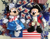 Patriotic Wreath Mickey and Minnie Mouse Patriotic Wreath - RESERVED PATRICIA THOMAS