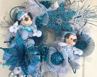 Mickey and Minnie Mouse Wreath, Winter or Christmas Wreath in Teal Blue and Silver, Disney Wreath