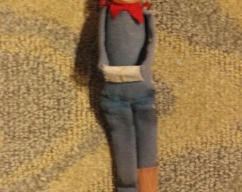 Vintage Mid-20th Century Felt Pixie Elf Knee Hugger Christmas Ornament