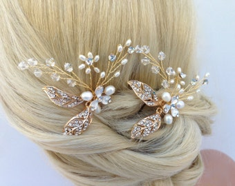 Crystal And Freshwater Pearl Hairpin Set, Gold Bridal Hairpins, Pearl Hairpins, Crystal Hairpins, Bridal Hair Pins, Bridal Headpiece