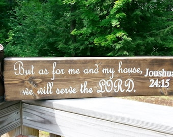 Painted Sign, Bible verse, Rustic Carved, As for me and my house