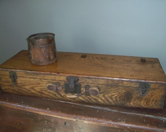 Antique Wooden Box Suitcase Chest Tool Box Great Patina