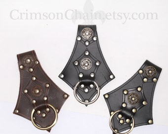 Ring Axe Weapon Sword Frog - Black or Brown - by Crimson Chain Leatherworks - SCA Larp Renactment Garb Costume