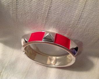 Vintage Silver and Red Bangle Bracelet