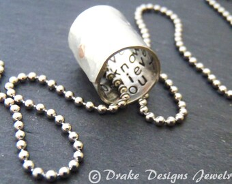 Personalized necklace with custom secret message hidden inside. Personalized jewelry for men or women