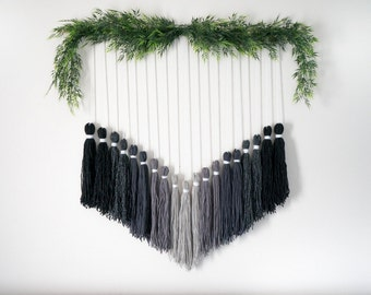 Gray Ombre Tassel Tapestry / Macrame / Wall Hanging - Ready-to-Ship