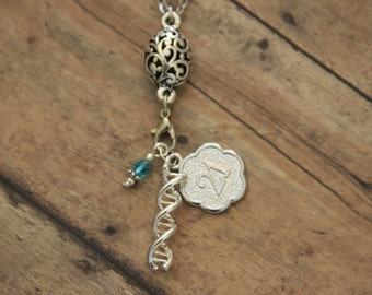 Down Syndrome 21 Chromosomes DNA Antique Silver Charm Necklace