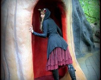 Hooded Wrap Cloak Black ~ Witchy Halloween Cardigan Thumb Hole ~ Occult Clothing Dress Jacket Layering Pointy Hem Dark Mori Witchcraft Robe