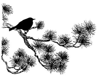 Magenta Cling Stamp Pine Bough Perch